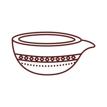 happy raksha bandhan celebration with ceramic jar line style vector illustration design  イラスト・ベクター素材