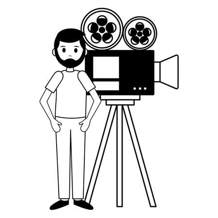 man with camera in tripod film movie production vector illustration