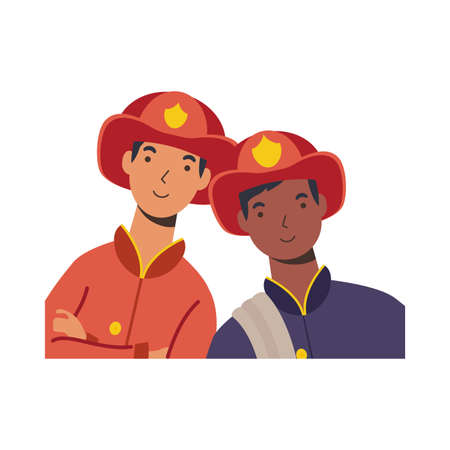 firefighters men design, Workers actions working occupation jobs proffesional employee service and labor theme Vector illustration 일러스트