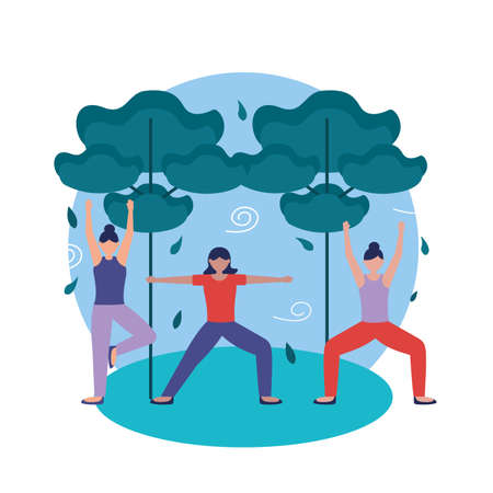 Girls doing yoga design, Positive mind fitness and exercise theme Vector illustration Vectores