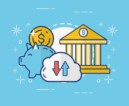 piggy bank cloud storage money online payment vector illustration