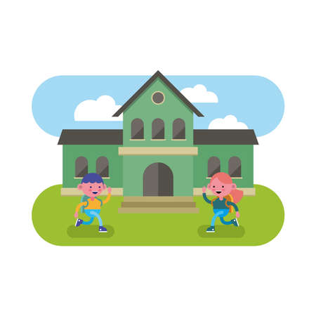 little students couple walking in the school comic characters vector illustration design Vectores