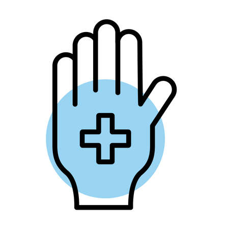 medical cross symbol in hand line style vector illustration design