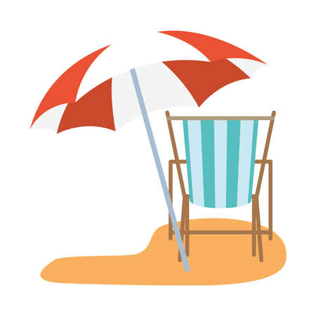 striped sunchair with umbrella design, Summer vacation tropical and relaxation theme Vector illustration Vectores