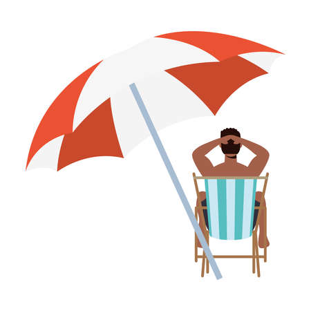 Boy cartoon on sunchair with umbrella design, Summer vacation tropical and relaxation theme Vector illustration