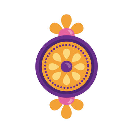 happy raksha bandhan celebration with circular frame flat style vector illustration design  イラスト・ベクター素材