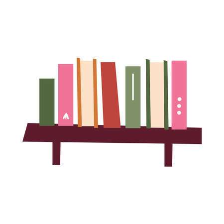Shelf with books design, Home room decoration interior modern house decor living and apartment theme Vector illustration Ilustracja