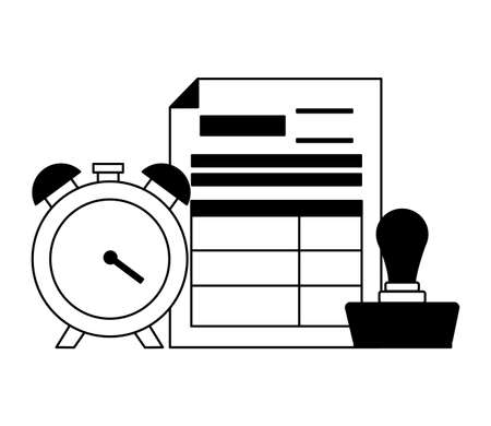 clock form report paid stamp tax payment vector illustration