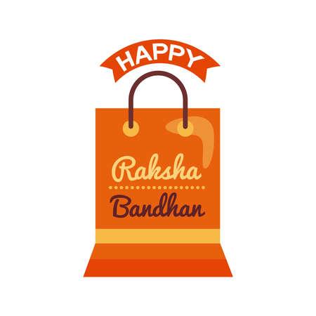happy raksha bandhan celebration with shopping bag flat style vector illustration design  イラスト・ベクター素材