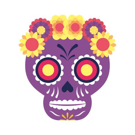 traditional mexican skull head icon vector illustration design Vettoriali