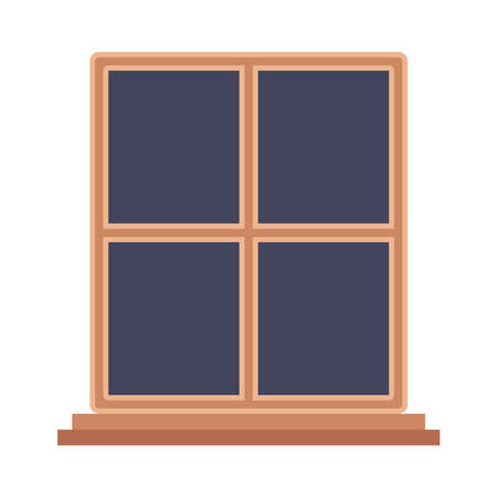 wood window design, architecture home and house theme Vector illustration