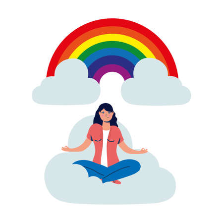 business woman in lotus position on the cloud with rainbow vector illustration design