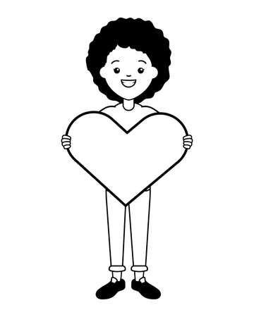 afro american woman heart vector illustration design