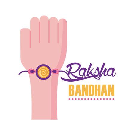 happy raksha bandhan celebration with hand using wristband flat style vector illustration design  イラスト・ベクター素材