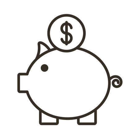 piggy savings line style icon vector illustration design