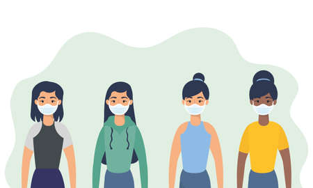 interracial young women using face masks characters vector illustration design