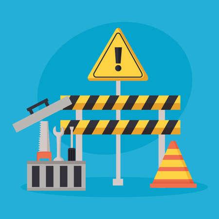 construction equipment barrier cone toolbox vector illustration