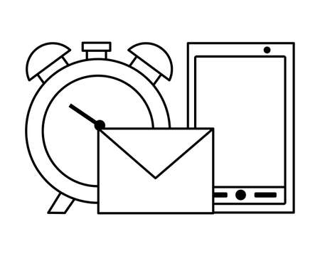 smartphone clock mail tax payment vector illustration