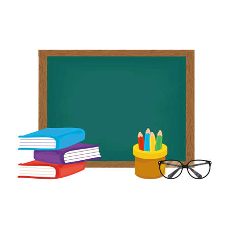 school chalkboard with books and pencil holders vector illustration design
