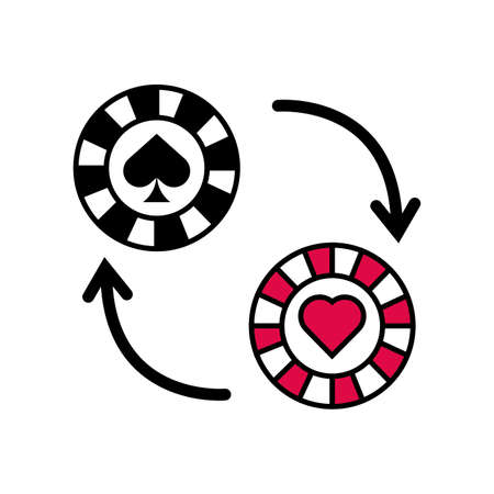 casino chip with arrows icon vector illustration design Stock Illustratie