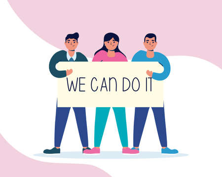 group of people lifting label with we can do it message vector illustration design