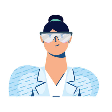 woman with laboratory goggles hand draw style vector illustration design