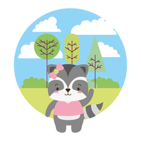 cute raccoon cartoon landscape vector illustration design Ilustracja