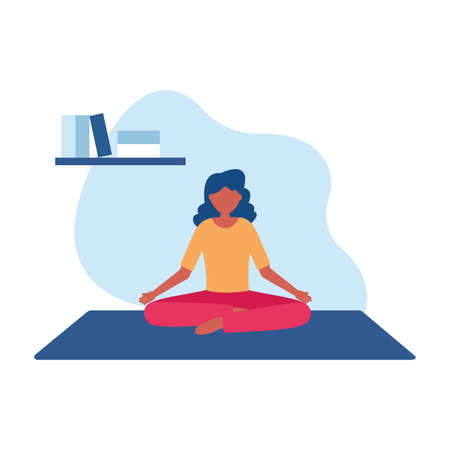 Woman doing yoga on mat design of Stay at home theme Vector illustration