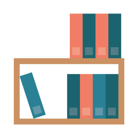 shelf with text books isolated icon vector illustration design