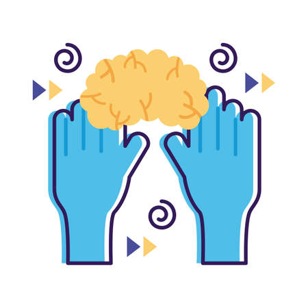 hands with brain mental health flat style icon vector illustration design Vettoriali