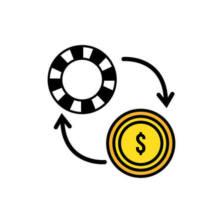 casino chip with arrows and coin vector illustration design