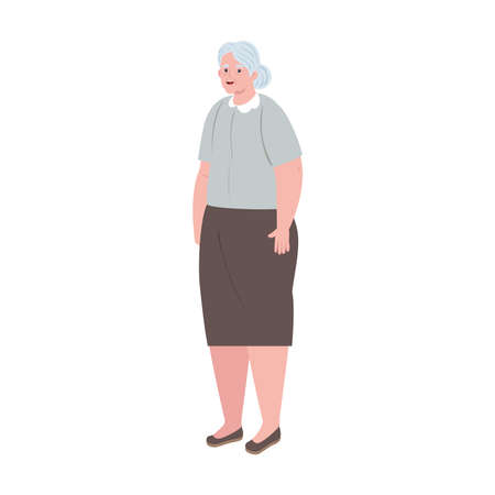 cute old woman standing, grandmother standing on white background vector illustration design