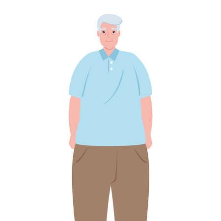 cute old man, grandfather on white background vector illustration design Vector Illustration
