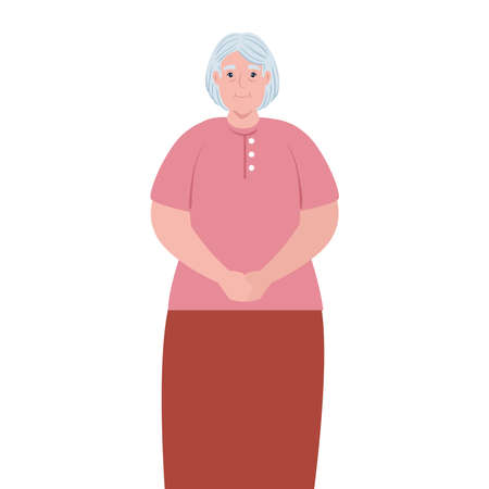 cute old woman, grandmother on white background vector illustration design