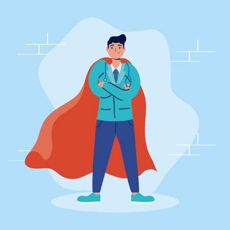 super doctor with hero cloak fight covid19 vector illustration design