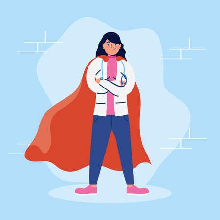 super female doctor with hero cloak vs covid19 vector illustration design