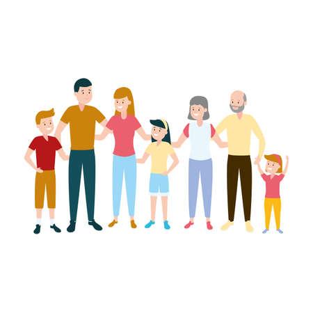 happy family parents kids grandparents vector illustration Vetores