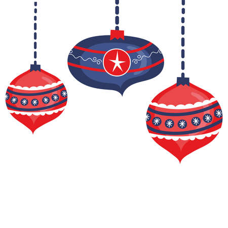 christmas balls hanging decorative icons vector illustration design