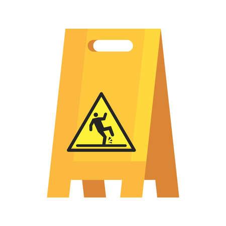 caution sign wet floor, on white background vector illustration design
