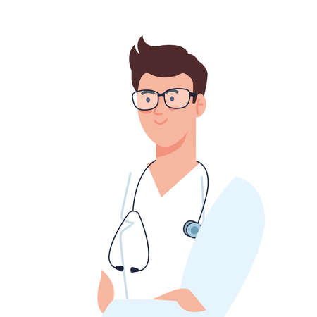 professional doctor with stethoscope and uniform on white background vector illustration design