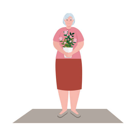 cute old woman with pot plant, grandmother with pot plant on white background vector illustration design Illustration