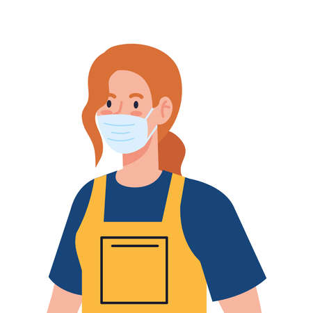 woman worker of cleaning service wearing medical mask, on white background vector illustration design