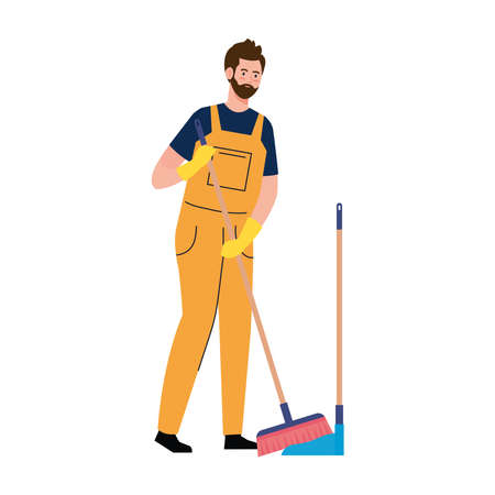 man worker of cleaning service, with picker housekeeping and broom, on white background vector illustration design