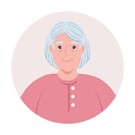 cute old woman in frame circular, grandmother in frame circular on white background vector illustration design