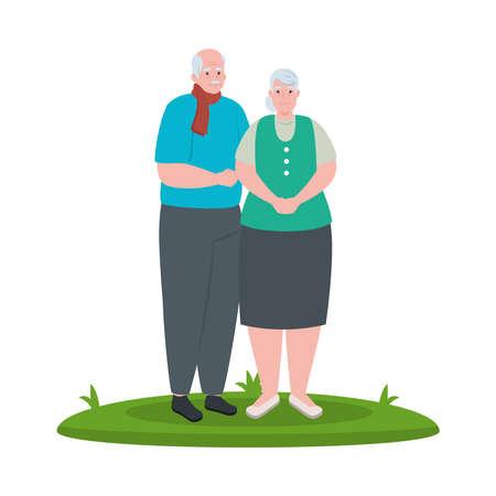 elderly couple smiling outdoor, on white background vector illustration design Illustration