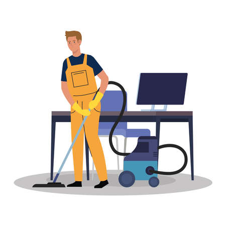 man worker of cleaning service with vacuum cleaner in the office, on white background vector illustration design