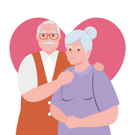 elderly couple smiling, old woman and old man with heart background vector illustration design