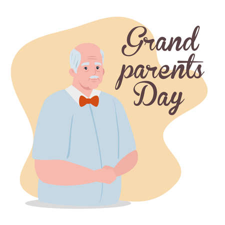 happy grand parents day with cute grandfather vector illustration design