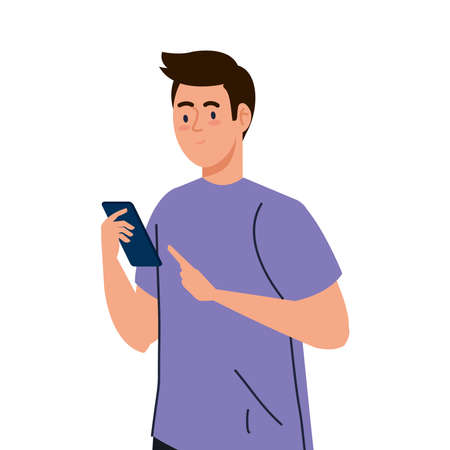 young man using smartphone device on white background vector illustration design
