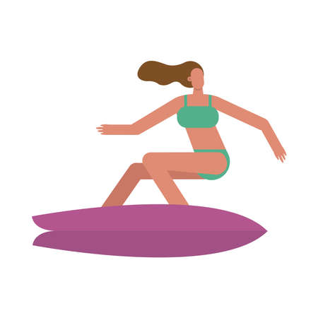 young woman wearing swimsuit surfing character vector illustration design